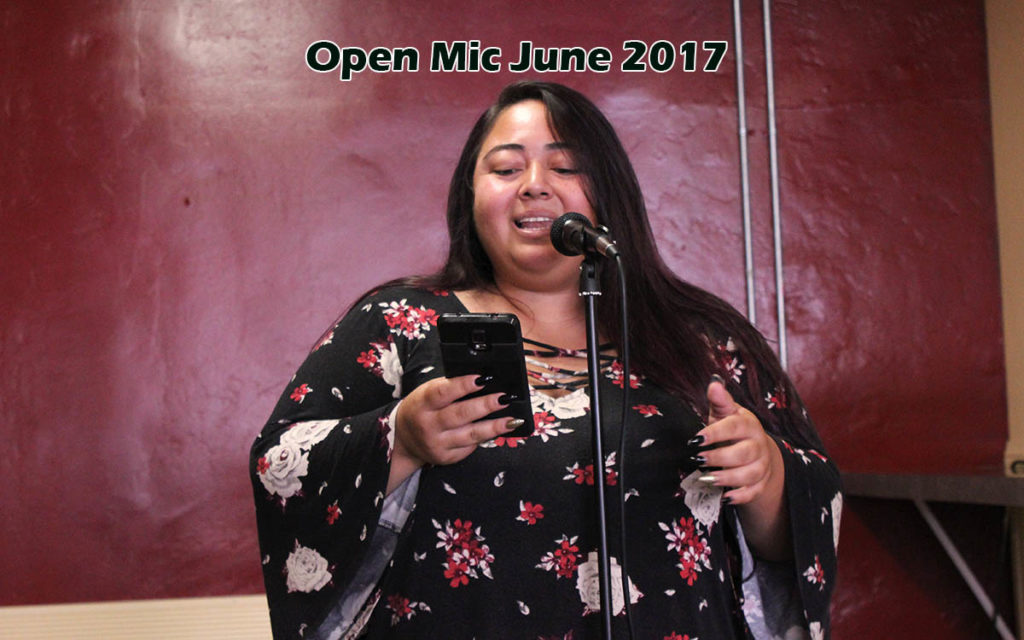 Norma Camorlinga performs at open mic